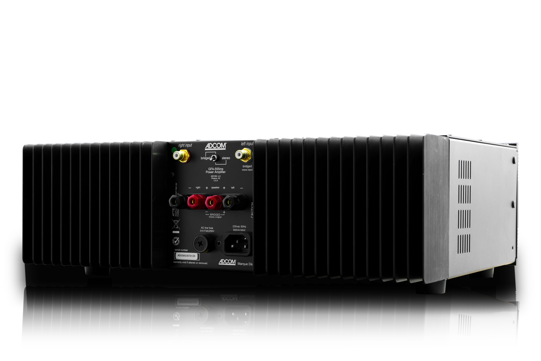 Adcom High Performance Audio Amplifiers Pre And Tuners Power Amplifier The Gfa 555ms Can Drive A Very Broad Range Of Loudspeakers Including Those With Low Impedances At Sustained Levels